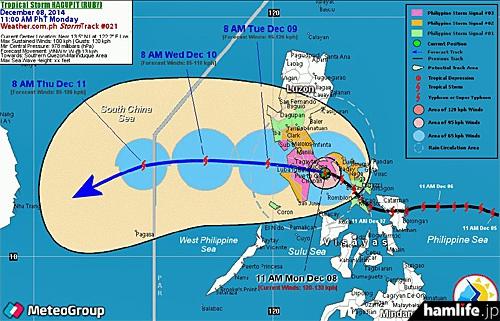 フィリピンを襲った台風22号(HAGUPIT)の進路図