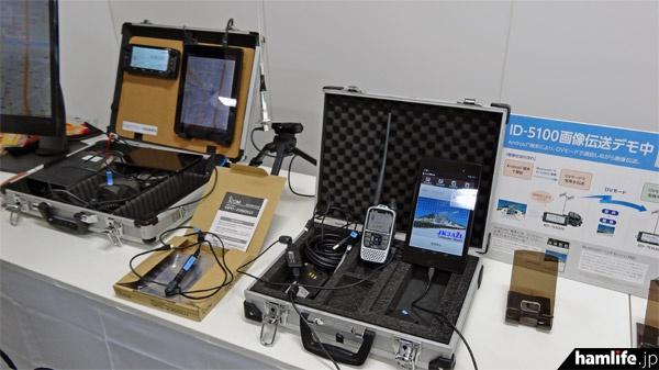 D-STAR関連のコーナーでは、ID-5100やID-51とスマートフォンを活用したデモを実施