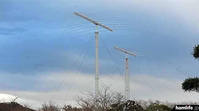 短波帯を広帯域でカバーする大型のログペリアンテナ。全部で3基あった