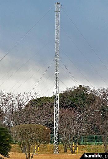 三角タワーを支柱として、その左右にさまざまな長さのワイヤーアンテナを展開