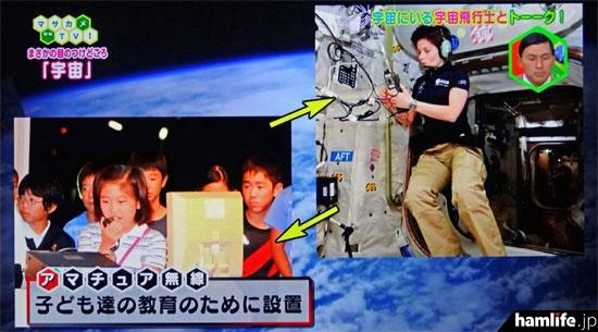 国際宇宙ステーションにアマチュア無線機が設置されている理由を説明(NHK「マサカメTV」の画面より)