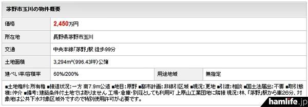 売却する土地の詳細(三菱UFJ不動産販売のWebサイトより)