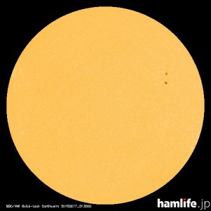 「太陽黒点情報 - 宇宙天気情報センター」のWebサイトに表示されている2015年2月16日の太陽黒点映像