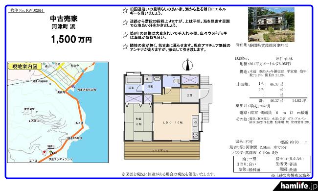 物件を媒介している「伊豆太陽ホーム」のチラシ。現地案内図や間取りなどが紹介されている