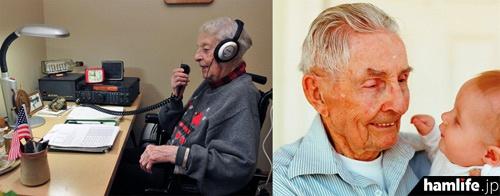 """102歳のアーリーン""""バディ""""クレイ(KL7OT)と、100歳のグレーフ""""リチャード""""ベッカム(W7FVM)"""