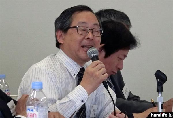 答弁する玉眞JARL専務理事(JA1SLS)