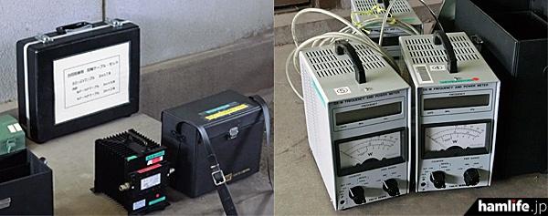 関東総合通信局の監視官は測定器や工具、ケーブル、変換コネクタなどを多数持参