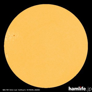 「太陽黒点情報 - 宇宙天気情報センター」のWebサイトに表示されている2015年6月29日の太陽黒点映像