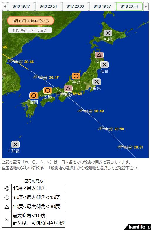 8N3HOとの更新が予定されている、8月18日20時42分からのISS軌道図