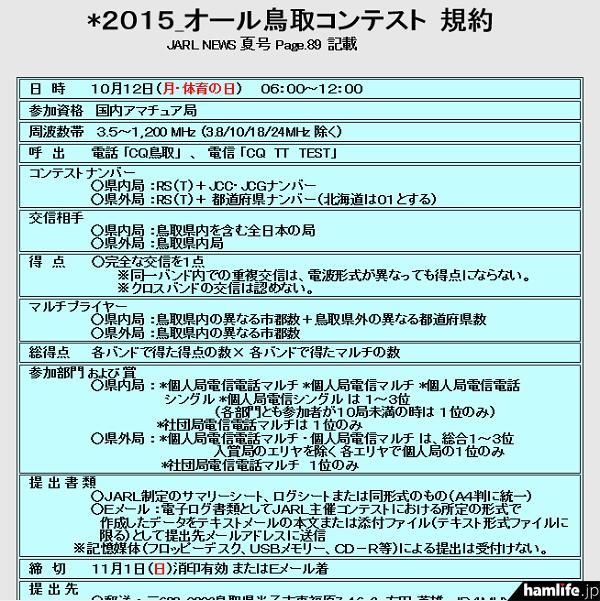 「2015オール鳥取コンテスト」の規約(一部抜粋)