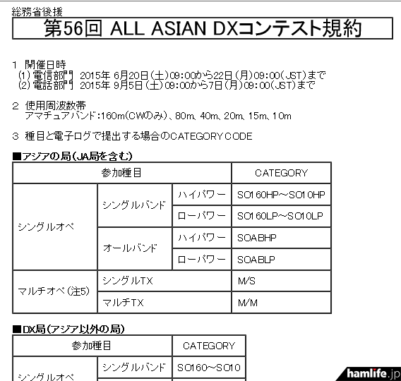 「第56回 ALL ASIAN DXコンテスト(電話部門)」の規約(一部抜粋)
