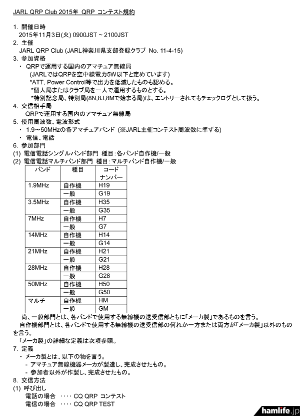 「JARL QRPクラブ2015年QRPコンテスト)」の規約(一部抜粋)