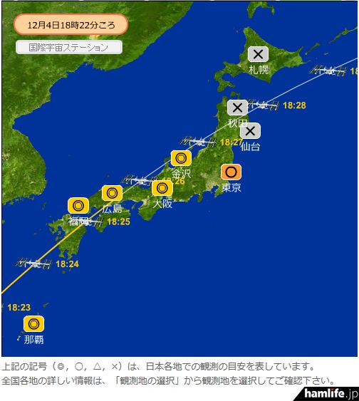 8N2YAYOIとの交信が予定されている、12月4日18時25分からのISS軌道図(「きぼう」/ISSの目視予想情報より)