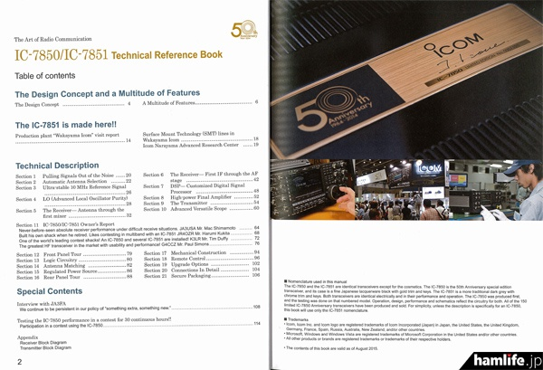 「IC-7850/IC-7851 Technical Reference Book」の目次