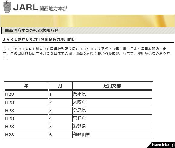 2016年1月1日から「8J390Y」の運用をアナウンスする、JARL関西地方本部のお知らせ「JARL創立90周年特別記念局運用開始」(同Webサイトから)