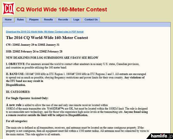 「World-Wide 160Meter DX Contest CW」規約の一部(同Webサイトから)
