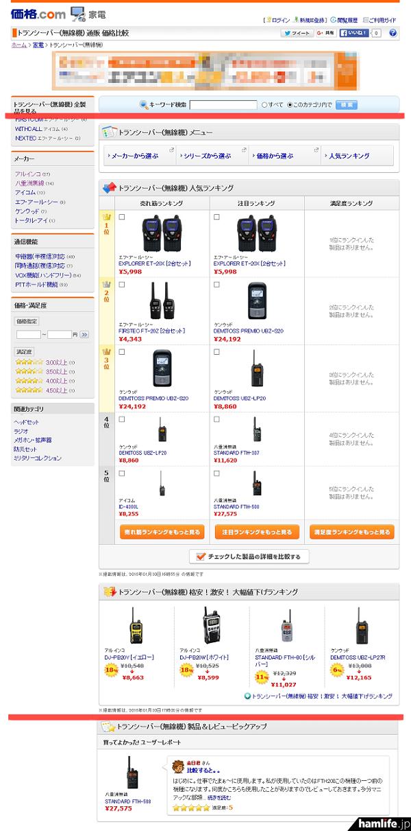 「価格.com」の「家電」カテゴリーに「トランシーバー(無線機) 部門」がオープン!(赤線は画像処理箇所)