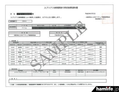 無線機器返却時に同封される「スプリアス実態調査の測定結果通知書」のサンプル(JARD提供)