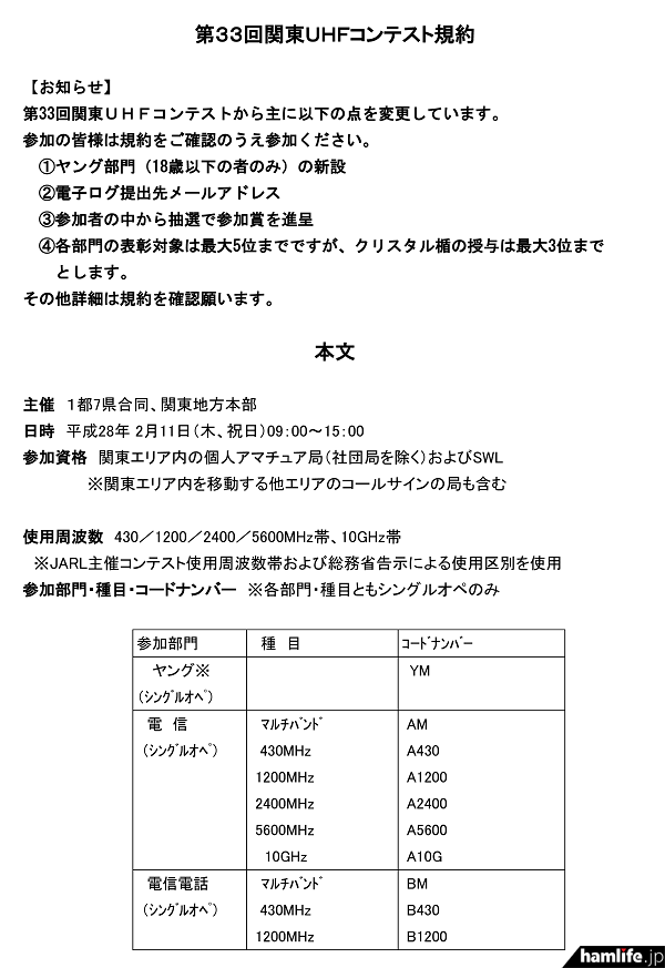 「第33回関東UHFコンテスト」の規約(一部抜粋)