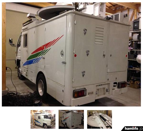 残念ながら車両内部が確認できる画像は掲載されていない。単相100V15kVAの発電機が残っている程度で、後の装備類は外されていると思われる。それだけ広い社内を自由にレイアウトできるということか…(ヤフオクの画面から)