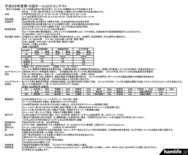 「第15回オール山口コンテスト」の規約(一部抜粋)
