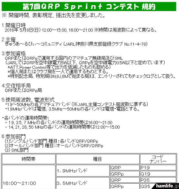「第7回QRP Sprintコンテスト」の規約(一部抜粋)