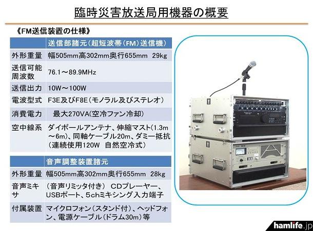 臨時災害放送局用機器の概要(九州総合通信局 災害対策支援から)