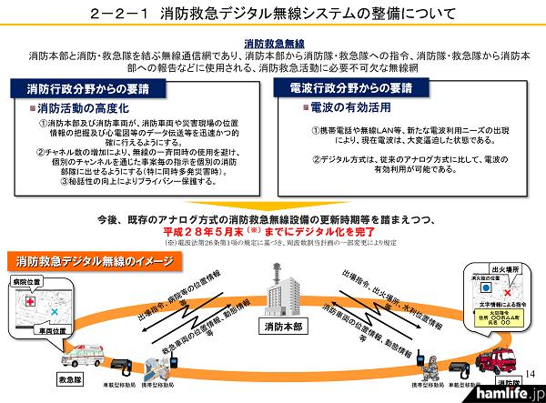 260MHz帯デジタル波を使用した新システムイメージ(「消防防災通信ネットワークの現状について」から)