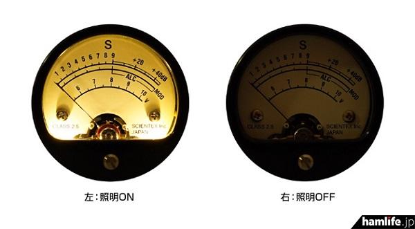参考画像:メーター部分の照明ON/OFF外観比較(同社サイトから)