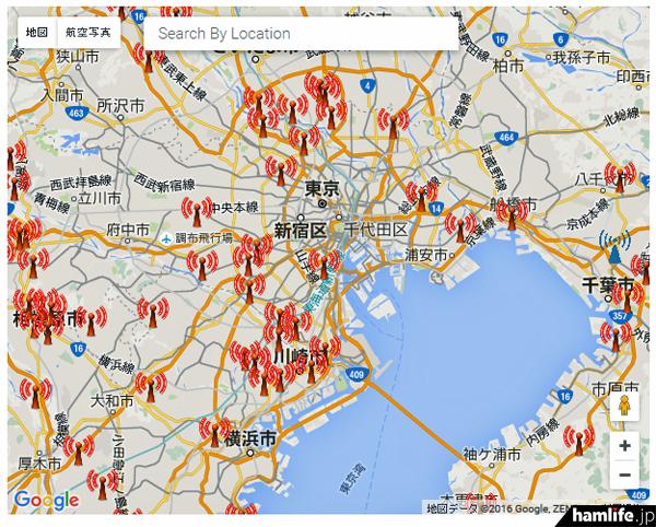 東京周辺を拡大したところ。赤は稼働中のデジタルノード局を意味する