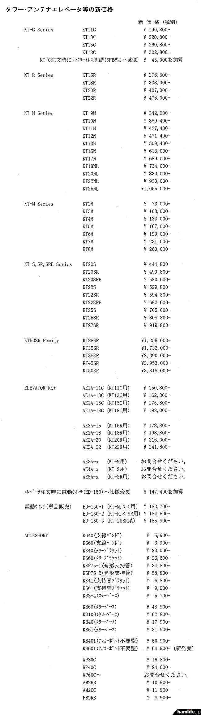 8月21日注文分から適用される、KTタワー、アンテナエレベータ類、オプションなどの新価格表