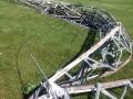 倒壊したW3LPLのアンテナタワー(ARRL NEWSより)