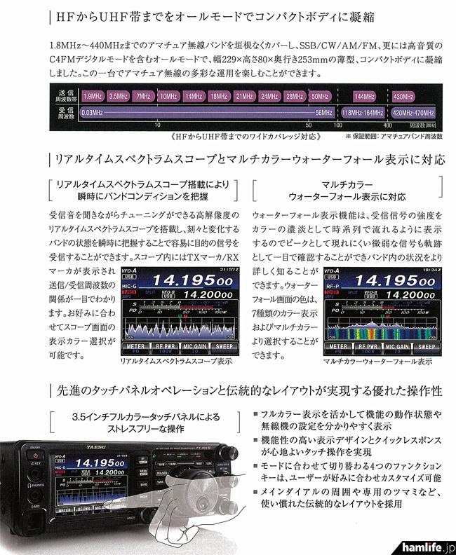 FT-991Aカタログより抜粋