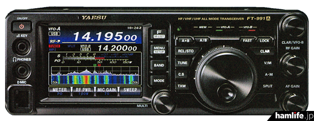 八重洲無線の新製品「FT-991A」。フロントパネル右上の型番に「A」が追加されている