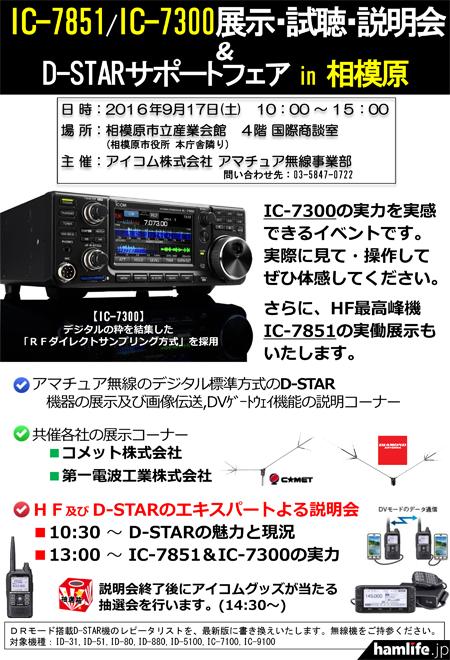 IC-7851/IC-7300展示・試聴・説明会&D-STARサポートフェア in 相模原」の案内チラシより