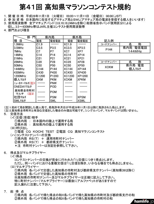 「第41回記念高知県マラソンコンテスト」の規約(一部抜粋)