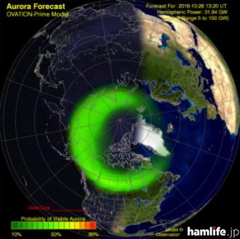 10月25日、NOAA(National Oceanic and Atmospheric Administration)オーロラ画像(ARRL NEWSより)