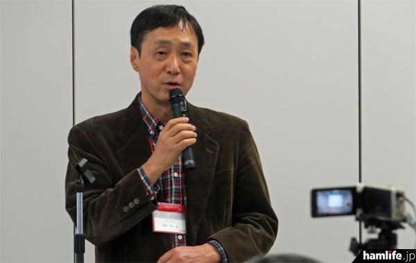 「私のハムライフ」を講演する柳澤秀夫氏(JA7JJN)