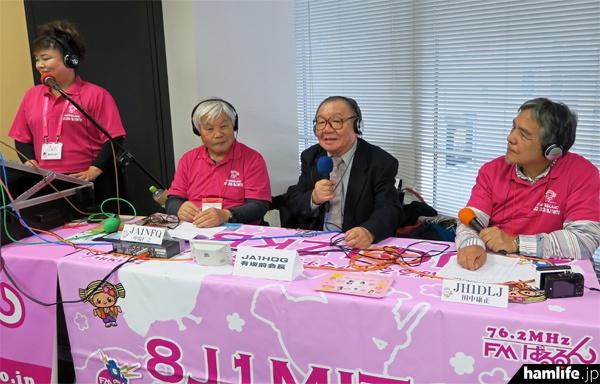 FMぱるるんは会場で「CQ ham for Girls」と「OMのラウンドQSO」の公開収録を行った