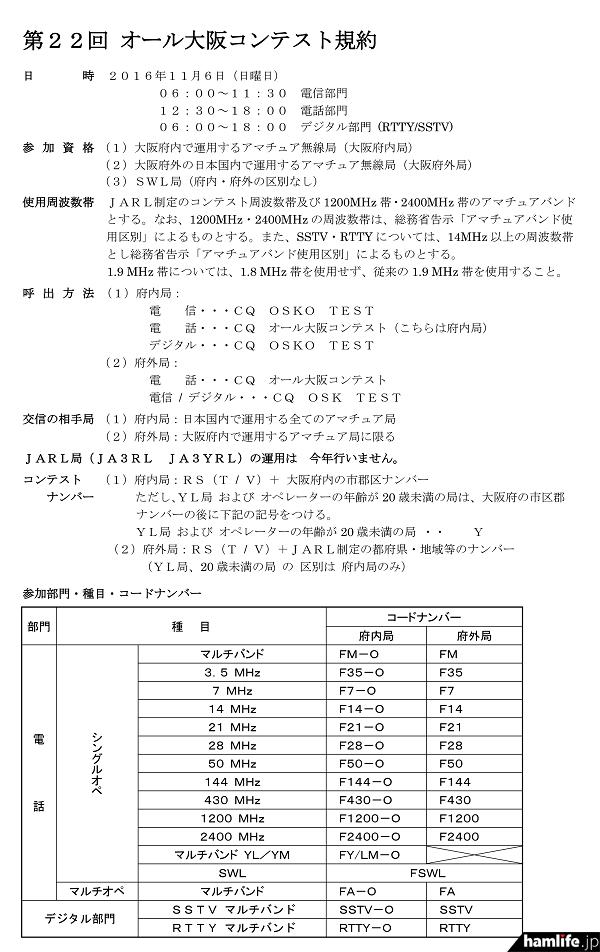 「第22回オール大阪コンテスト」の規約(一部抜粋)