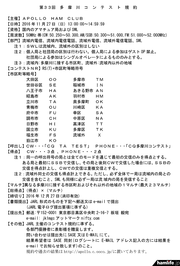 「第33回多摩川コンテスト」の規約