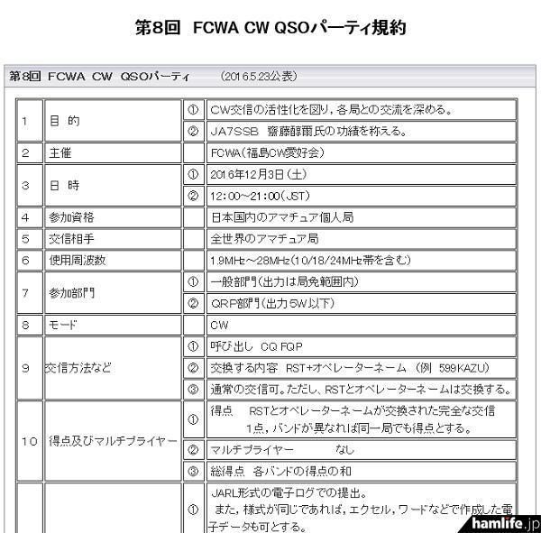 「第8回FCWA CW QSOパーティー」の規約(一部抜粋)
