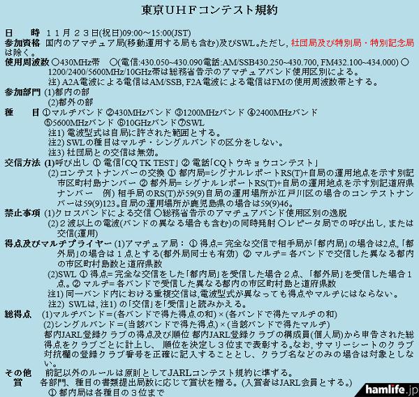「第36回東京UHFコンテスト」の規約(一部抜粋)
