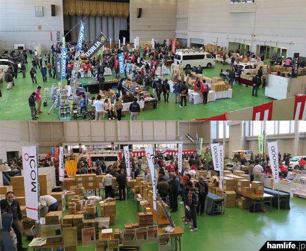 「CQオーム35周年大創業祭 in 岐阜産業会館」の全景。20社以上がブースを出展し製品展示や即売を行った