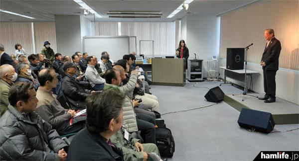 開場のあいさつをするアイコム創業者で代表取締役会長のJA3FA 井上徳造氏