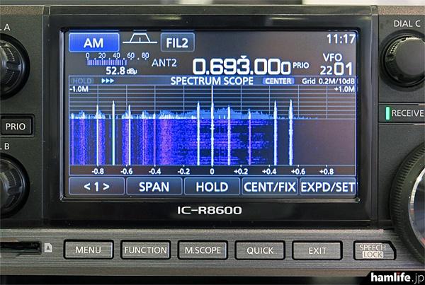 リアルタイムスコープ画面。受信周波数を中心に前後1MHz幅の入感状況を表示中