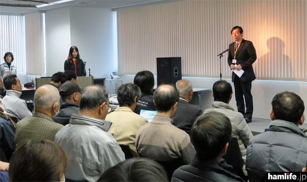 JARL会長のJG1KTC 髙尾義則氏も来場、あいさつを行った