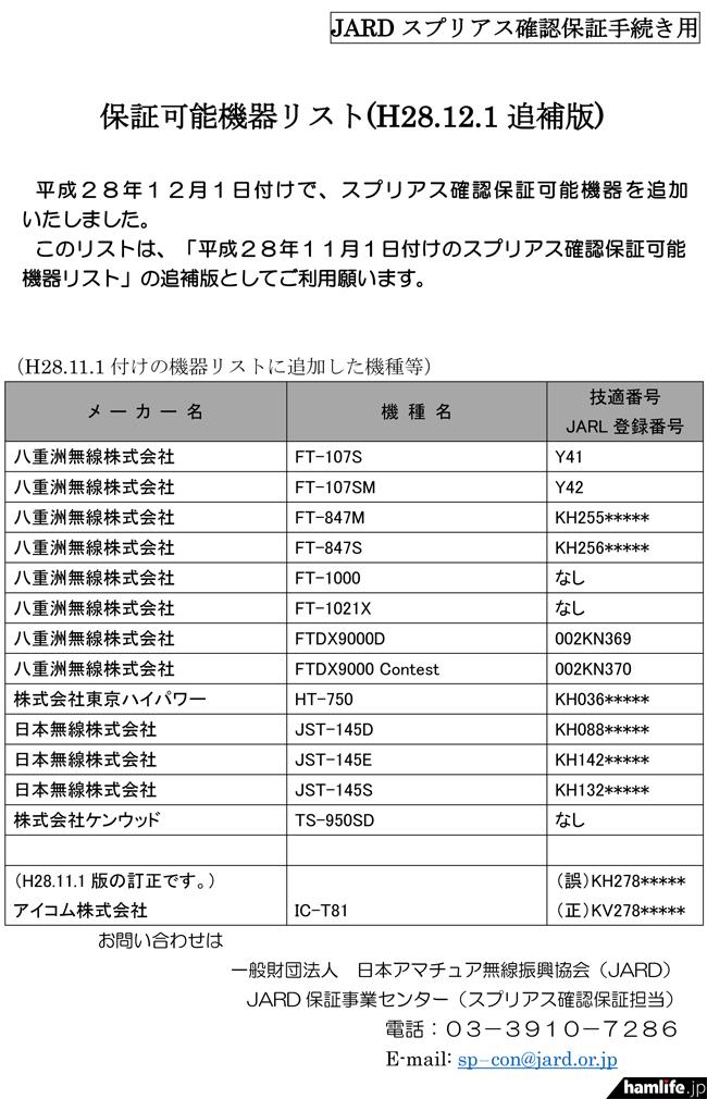 JARDが新たに公表した「保証可能機器リスト(H28.12.1追補版)」