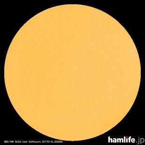 「太陽黒点情報 宇宙天気情報センター」のWebサイトに掲載された2017年1月9日(月・祝)の太陽黒点映像。太陽黒点数(SSN)がまったく確認できない