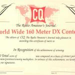 US CQマガジン主催、「2020 CQ World-Wide 160Meter DX Contest CW」が日本時間1月25日(土)7時から48時間にわたり開催